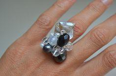 Handmade ring Statement Ring Black ring White & Grey by MiluStore