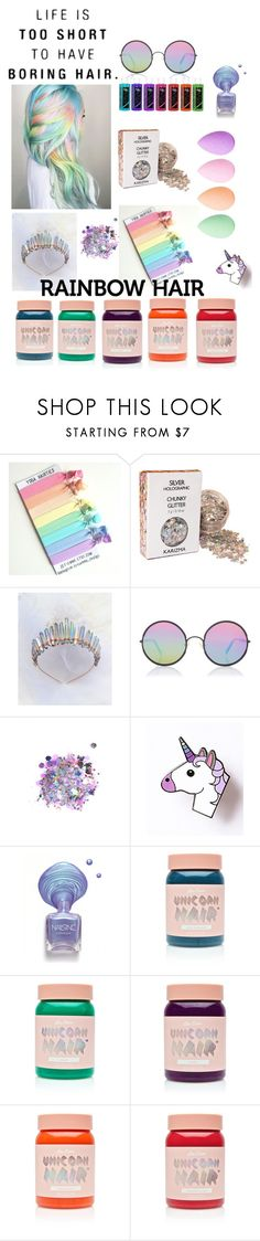"""""""Rainbow Hair"""" by puppyanne ❤ liked on Polyvore featuring beauty, Sunday Somewhere, The Gypsy Shrine, Lime Crime and beautyblender"""