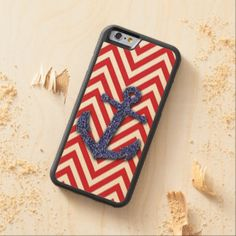 Chic Retro Nautical Zigzag Chevron Pattern Carved® Maple iPhone 6 Bumper Case