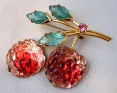 Vintage Austria Glass Fruit Carved Leaves Rhinestone Brooch