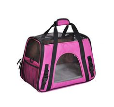 QiMiaoBaBy Breathable Oxford Pet Carry Bag Dog Cat Puppy Pet Carrier Soft Cosy Travel Carry Carrier Tote Case Cage Tent Bag Rose Medium ** Want to know more, click on the image.