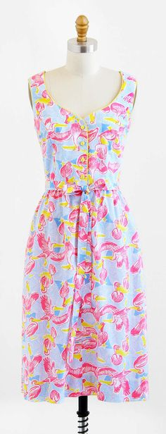 vintage 1960s pink pelicans novelty print dress by Lilly Pulitzer | http://www.rococovintage.etsy.com