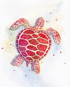 8 x 10 Print of Sea Turtle Nautical Hearts by KrystalHigginsStudio, $19.00
