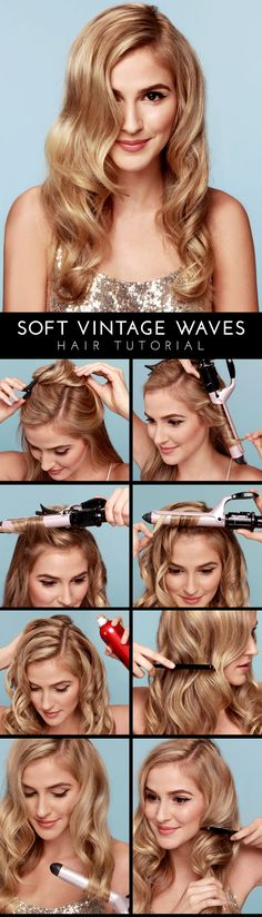 Soft Vintage Waves Hair Tutorial - (love your hair, long wavy hairstyle) Vintage Waves Hair, Vintage Curls, Retro Curls, Retro Hair, Vintage Hairstyles Tutorial, Hairstyle Tutorials, Hairstyle Ideas, Easy Hairstyle, Hair Ideas