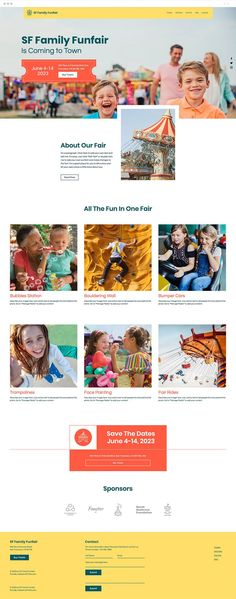 You're organizing a family-friendly event and need a website to attract attention. This fun and playful template is the perfect online platform to build excitement in the community by showcasing the activities offered, sharing important information such as the time and place, and managing ticket sales using Wix Events.