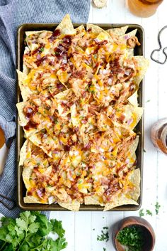 Sheet Pan BBQ Chicken Nachos - Simply Scratch Quesadillas, Bbq Chicken Nachos, Grilled Chicken, Bbq Nachos, Buffalo Chicken Nachos, Pulled Pork Nachos, Chipotle Chicken, Chicken Dips, Homemade Tacos