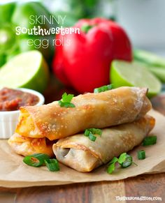 A quick and healthy dinner or a fun party appetizer, these Skinny Southwestern Egg Rolls are crispy on the outside, stuffed with a cheesy chicken filling, and perfect for dipping!