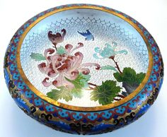 FINE Chinese Cloisonne & Champleve Enamel Low Bowl on Wood Stand