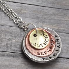Hand Stamped Jewelry Stacking Necklace Mixed by PureImpressions