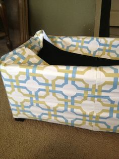 Recovering Furniture {Ottoman to Storage Box} - Reasons To Skip The Housework Fabric Storage Ottoman, Waverly Fabric, Storage Boxes, Diaper Bag, Tins, Furniture, Craft Ideas, Places, House