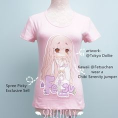 """""""Chibi Fetsu Chan"""" Kawaii Custom Design Tailor Made Cotton T-shirt Top Free Ship sold by SpreePicky. Shop more products from SpreePicky on Storenvy, the home of independent small businesses all over the world. Tee Shirt Designs, Tee Design, Moon Clothing, Making The Team, Kawaii Clothes, Kawaii Shirts, Tee Shirts, Tees, Cosplay Outfits"""
