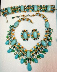 RARE SCHREINER PARURE IN JADE, AQUA, TOPAZ & PEARLS. LOVE IT! OWN IT!