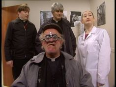 Frank Kelly, Dermot Morgan, and Ardal O'Hanlon in Father Ted (1995) Father Ted, Comedy Tv, Tv Series, Office Decor, Drama, Sketch, Funny, Sketch Drawing, Sketches