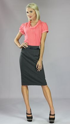 pencil skirt with belt & chiffon blouse in coral - affordable, modest clothing from jen clothing
