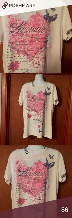 "🌞Summer Sale  Love Tee Sweetheart Tee with Heart and Love all over it! Very good Preowned condition Size XL Bust 44"" Length 25"". Fashion Bug Tops Tees - Short Sleeve"
