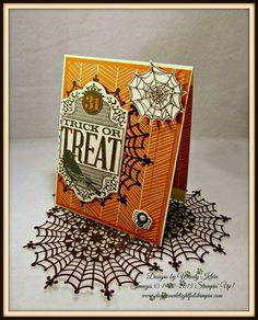 Stampin' Up!  Witches' Night, Howl-o-ween Treat, Spider Web Doilies, Happy Haunting DSP, Circles framelits, Lots of Labels framelits, Boo to You framelits, Silver Metallic Thread, Crystal Effects, Pearls