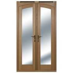 5ft Arched French Door White Oak Veneer With Satin Chrome Hardware 2090x1490mm, 20054