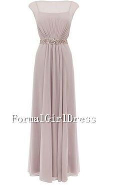 Empire Ruffle Beadings Cap Sleeves Lavender Strap Long Chiffon Long Dress Bridesmaid Dress Prom Dress Evening Dress Party Dress Formal Dress...