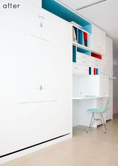 Awesome built-in which includes a Murphy bed (on the left) with a drop down table embedded in it. Perfect for a small office that has to do double duty as a guest room.
