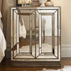 Hooker Furniture Sanctuary 2 Door Mirrored Nightstand - Visage | More here: http://mylusciouslife.com/luscious-bedrooms/