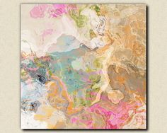 "Large abstract expressionism stretched canvas print, 30x30 to 36x36 in pastels, ""Dreamgirl"""