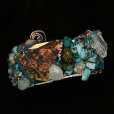Laced Stones Collage Cuff by Amanda Dunbar