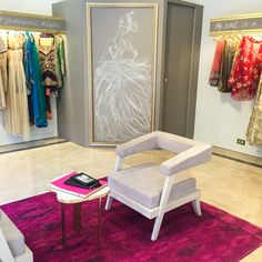 StudioS by Seher Tareen places a customized Gilt-Edge Island table in their magical HQ. With a 'dream closet' feel to the interior, personalized fashion illustrations by the designer herself combine feminine charm with edgy details.
