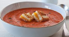 Comfort Food at it's Finest! - Tomato Soup with Grilled Cheese Croutons