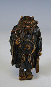 Japonesa Netsuke de madera de un Penitente Oni