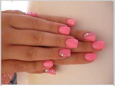 bedazzled, bubblegum pink nails
