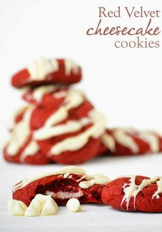 Red Velvet Cheesecake Cookies -- this recipe is perfect for holiday cookie exchanges or Christmas parties!
