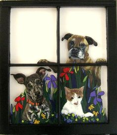 Custom Pet Portrait Recycled Window Painting Pet Loss by petzoup Silhouette Painting, Dog Silhouette, Window Pane Art, Funny Paintings, Pet Loss, Recycled Art, Hand Painted, Painted Rocks, Pet Portraits