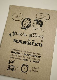 retro wedding invitation - adorable