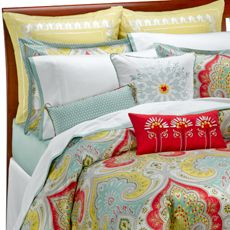 """Echo Design™ Jaipur Duvet Cover      This fun and fresh bedding featuring a bold color pattern and an Indian paisley design is an excellent way to brighten up your bedroom decor. Face is 100% cotton sateen. Twin duvet cover measures 72"""" W x 90"""" L. Full/Queen duvet cover measures 92"""" W x 96"""" L. King duvet cover measures 110"""" W x 96"""" L. Machine wash. Imported. Coordinating sheet sets, shams and toss pillows sold separately.  View all items listed below"""