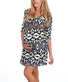 Navy Blue & Cream Tribal Belted Maternity Dress by PinkBlush Maternity on #zulily