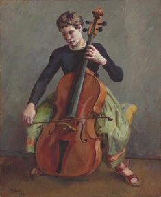 View Henrietta Playing the 'Cello By Duncan Grant; oil on canvas; Access more artwork lots and estimated & realized auction prices on MutualArt. Duncan Grant, Cello Art, Cello Music, Vanessa Bell, Bloomsbury Group, Portraits, Beautiful Paintings, Les Oeuvres, Oil On Canvas