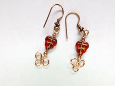 Copper and glass leaf earrings by CallahansCrafts on Etsy, $4.99