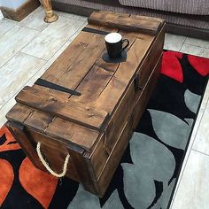Toy Box Rustic Wooden Chest Coffee Table Ottoman Trunk Blanket Shabby Vintage
