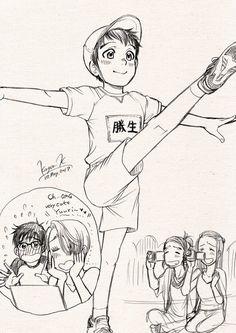 Is that you baby Yuri or Jr. Manga Anime, Me Anime, Kawaii Anime, Katsuki Yuri, Yuuri Katsuki, Love On Ice, ユーリ!!! On Ice, Victor Y Yuri, Yuri On Ice Comic
