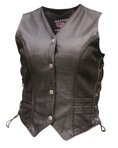 Women's AL2315 Braided front & back vest X-Small Black
