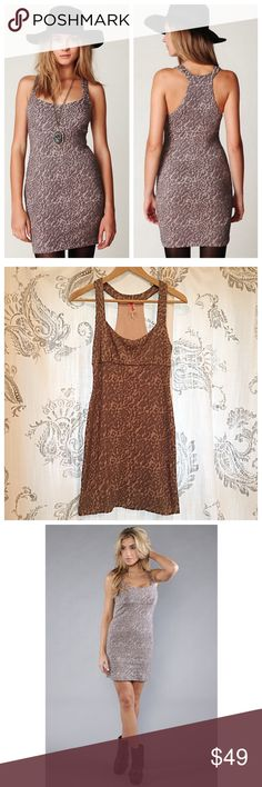 Free People Animal Knot Bodycon Super cute animal print stretchy bodycon dress with racerback tank straps. Soft stretchy knit makes it super comfortable and it's in excellent condition! Stock photos show true mauve and pink color. Free People Dresses Mini