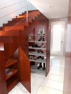rangement sous escalier pour chaussures  #design #interiors #space