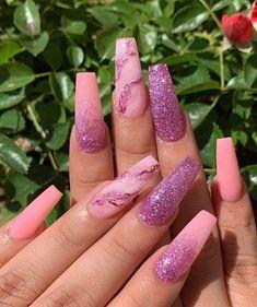 Ballerina nails Pink nails Glitter nails Marble nails Acrylic nails Spring - Nails In Nail Design Glitter, Pink Glitter Nails, Cute Acrylic Nail Designs, Summer Acrylic Nails, Best Acrylic Nails, Nails Design, Acrylic Art, Nail Pink, Pink Nail Designs
