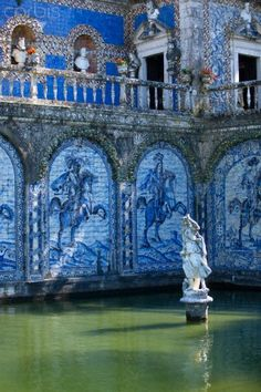 Azulejo tilework around water tank at Palácio Fronteira in Lisbon, Portugal Portuguese Culture, Portuguese Tiles, Portugal Travel, Spain And Portugal, Beautiful Buildings, Beautiful Places, Photos Voyages, Water Tank, Kirchen