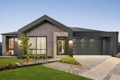 Grey Brick Houses, Exterior House Colors Combinations, Grey Exterior, Timber Cladding, Facade House, House Facades, Display Homes, Home Builders, House Design