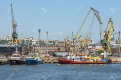 Picture of CONSTANTA, ROMANIA - MAY Shipyard of old commercial port of Constanta, the largest port on the Black Sea and the largest in Europe. stock photo, images and stock photography. Constanta Romania, Danube Delta, Old Commercials, Black Sea, Editorial Photography, Rum, Europe, Stock Photos, Vectors