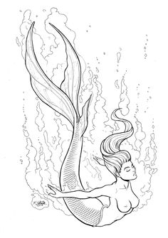 add seashells as top Mermaid Drawings, Mermaid Tattoos, Mermaid Art, Art Drawings, Fantasy Mermaids, Mermaids And Mermen, Mermaid Coloring Pages, Colouring Pages, Tattoo Painting