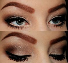 black eyeliner with gold and brown eyeshadow