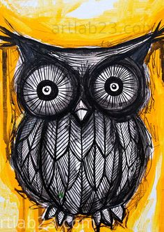 Black Owl Painting owl painting - love the simplicity of the design as the illustration is incredibly intricate
