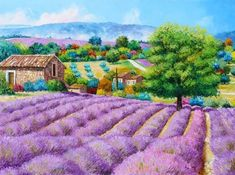 Jean Marc Janiaczyk French painter Dreaming of Provence Landscape Walls, Mountain Landscape, Watercolor Landscape, Landscape Paintings, Watercolor Ideas, Beautiful Paintings, Beautiful Landscapes, Field Paint, Monet Paintings